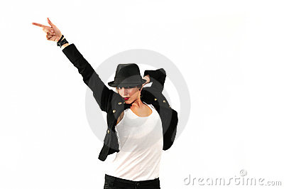 Cool female dancer isolated