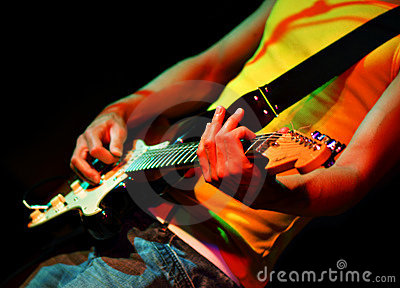 Cool guitarist in rock concert