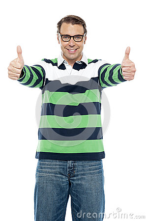 Cool guy showing double thumbs up to camera