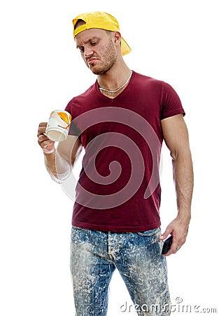 Cool handsome guy with mug.