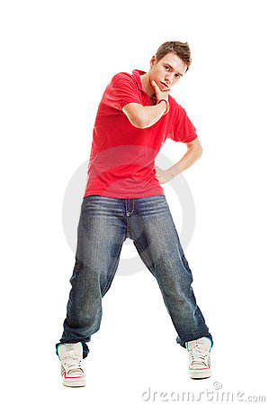 Free Cool Hip-hop Guy In Red T-shirt Royalty Free Stock Photos - 10943878