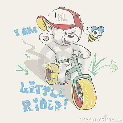Cool little bear in cap on bicycle cartoon hand drawn Vector Illustration
