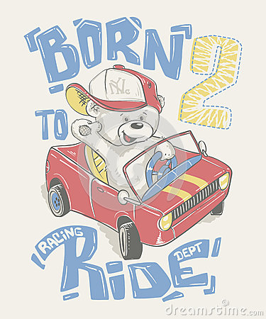 Cool little bear in cap driving a car cartoon hand drawn Vector Illustration