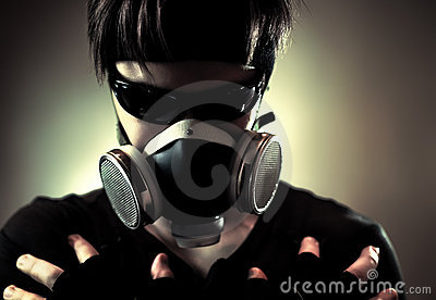 Cool man in protective mask
