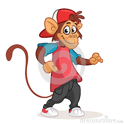 Cool monkey dancing in modern clothes. Vector flat cartoon illustration. Chimpanzee mascot. Vector Illustration