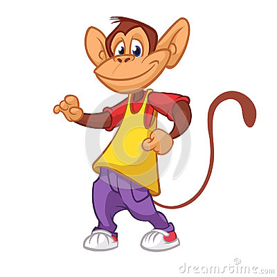 Cool monkey dancing in modern clothes. Vector flat cartoon illustration. Chimpanzee mascot outlined. Vector Illustration