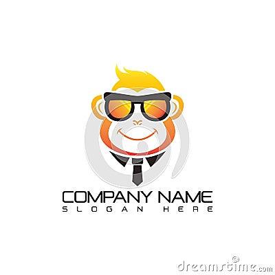 Cool Monkey Logo Template. Vector Illustration