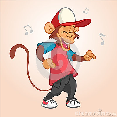 Cool monkey rapper character in modern clothes. Vector flat cartoon illustration. Chimpanzee dancing outlined. Vector Illustration