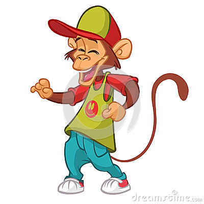 Cool monkey rapper character in modern clothes. Vector flat cartoon illustration outlined. Chimpanzee dancing. Vector Illustration