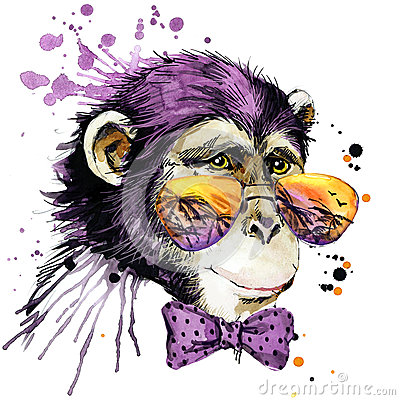 Cool monkey T-shirt graphics. monkey illustration with splash watercolor textured background. unusual illustration watercolor monk Cartoon Illustration