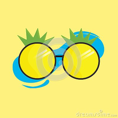 Cool pineapple glasses on yellow background Stock Photo