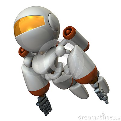 Free Cool Robot Flying In The Sky. It Is Strongly Brave. Stock Photo - 119238430