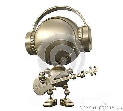 Cool robot musician plays guitar in headphones