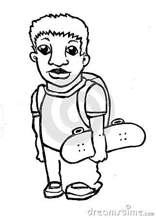 Cool school kid holding skateboard