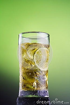 Cool tea with ice lemon lame