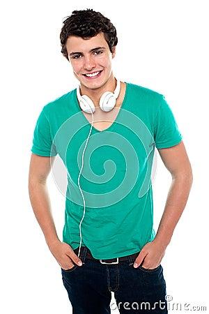 Cool trendy teenager boy with headphones