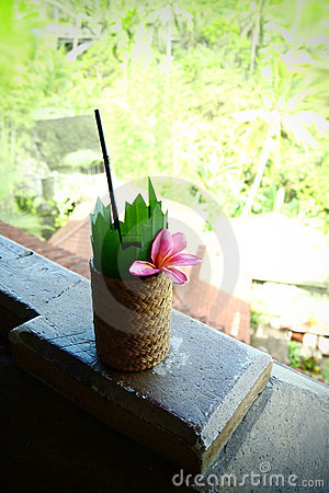 Cool tropical fruit cocktail drink