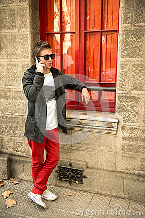 Cool urban guy talking on the phone
