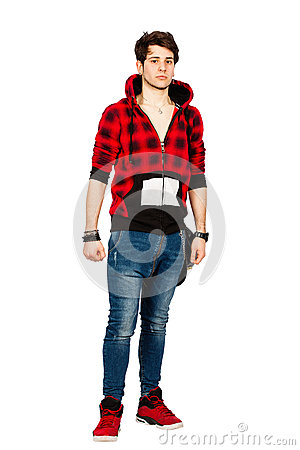 Free Cool Urban Young Man Model. Handsome Boy With Sweatshirt On White. PNG Royalty Free Stock Images - 69510269