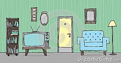 Cartoon Illustration Of A Cool Vintage Living Room