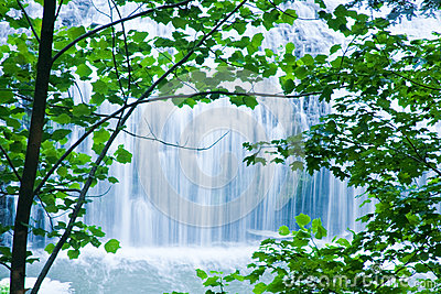Cool Waterfall Viewed through Trees