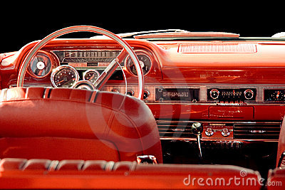 Classic car with red interior