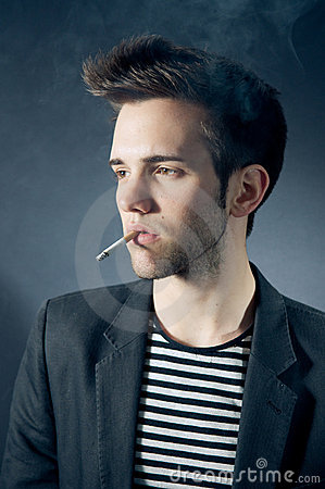 Cool young guy smoking
