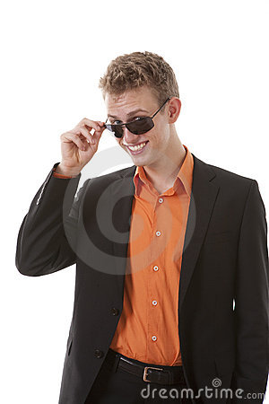 Free Cool Young Man Flirting Stock Image - 18328081