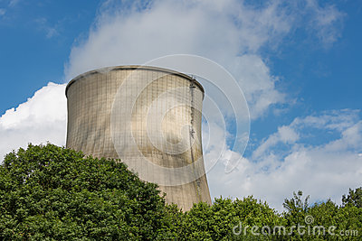 Cooling-tower of a power plant producing electricity