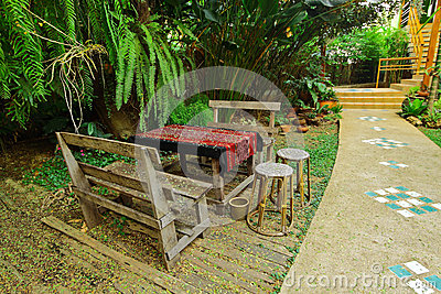 Coolness in floral garden for reception