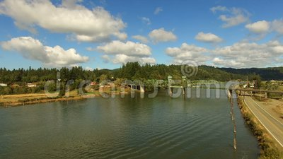Coos Rivierchandler Bridge Lillian Slough Oregon State Rural stock footage