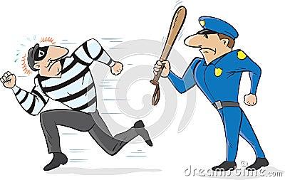 Cop chasing burglar