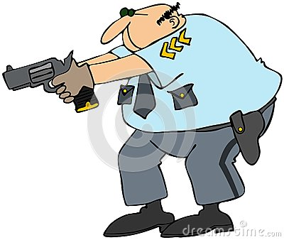 Cop with weapon drawn