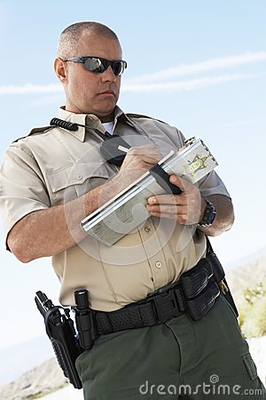Cop Writing On Clipboard