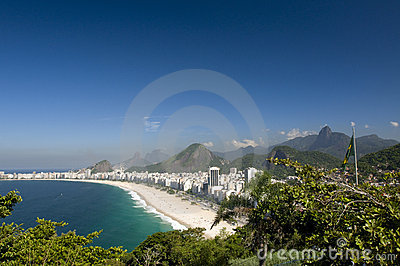 Copacabana and Brazilian Flag and Corcovado