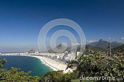 Copacabana and Brazilian Flag and Corcovado