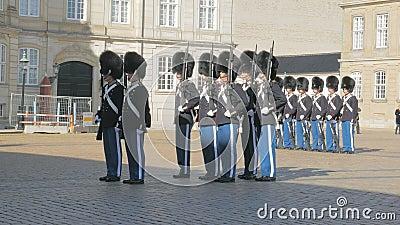 Copenhaga, Dinamarca - em outubro de 2017: cerimônia da mudança dos protetores reais dinamarqueses no palácio de Amalienborg vídeos de arquivo