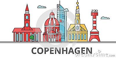 Copenhagen city skyline. Vector Illustration
