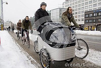 Copenhagen Cycle Commuters Endure Snow København Editorial Image