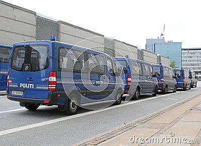 Copenhagen Police Vans Editorial Stock Image