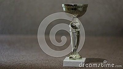 Copo dourado do troféu no fundo, no vencimento da concessão e no conceito do campeonato video estoque
