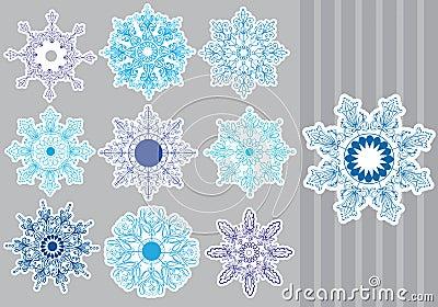 Copos de nieve decorativos fijados