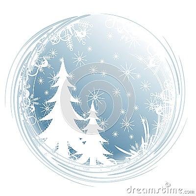 Copos de nieve del árbol de la silueta