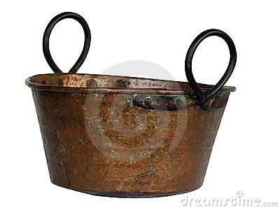 Copper bowl isolated on white