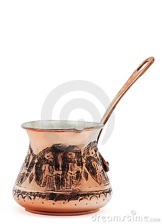 Copper coffee pot.