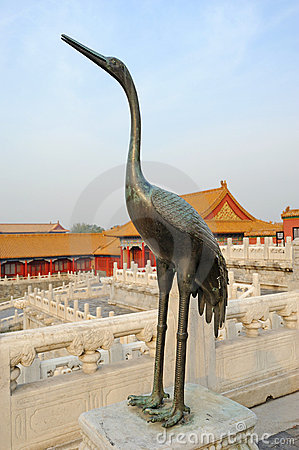 A Copper Crane in The Forbidden City