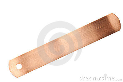 Copper identification tags isolated