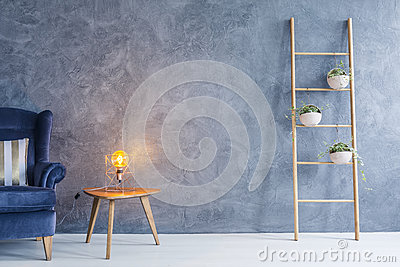 Copper lamp and side table Stock Photo