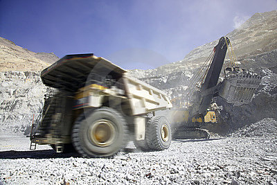 Copper mining truck in Chile
