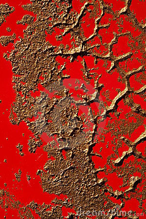 Copper Paint Texture on Red